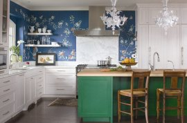 Wonderful use of color in the eclectic kitchen 25 Creative Wallpaper Ideas for Your Kitchen